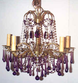 I lite 4 restored lighting fixtures parts elegant petite vintage 5 light brass chandelier with amethyst clear crystal prisms mozeypictures Gallery